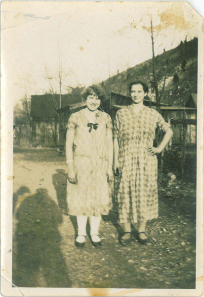 Mary Youchison and Mary Verbonits standing in, likely, Gypsy Row, 1925