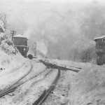 A train near Springfield Junction tower in winter